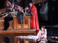 Cellia Costea (Tosca), Giancarlo Monsalve (Cavaradossi) και George Gagnidze (Scarpia). Φωτο: Χάρης Ακριβιάδης/ Εθνική Λυρική Σκηνή.