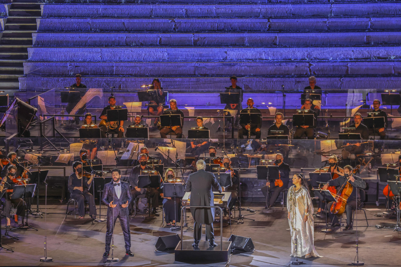 Yusif Eyvazov, Anna Netrebko και η ορχήστρα της ΕΛΣ, υπό τη διεύθυνση του Philippe Auguin (φωτο: Α. Σιμόπουλος).